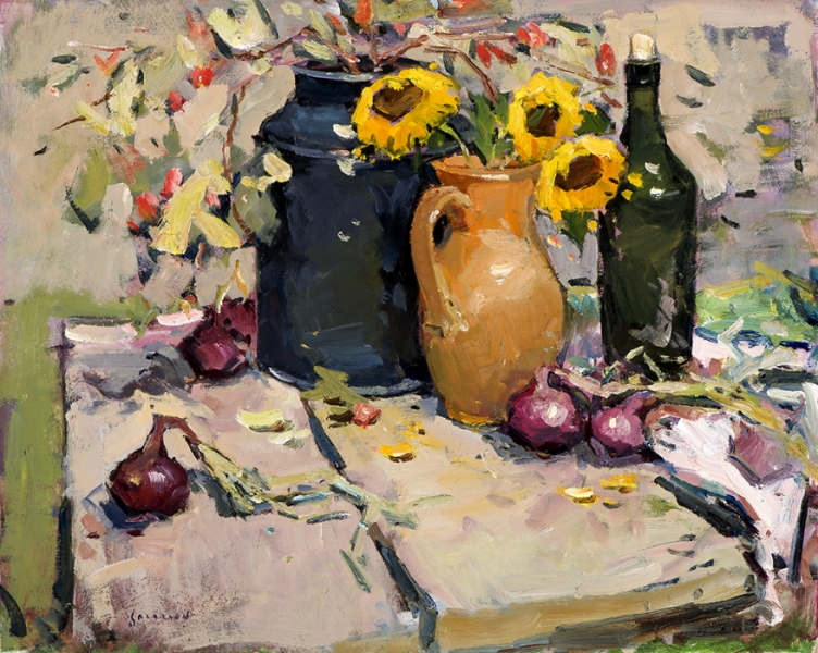 """Still Life with Sunflowers, oil on canvas, 24"""" x 30"""""""